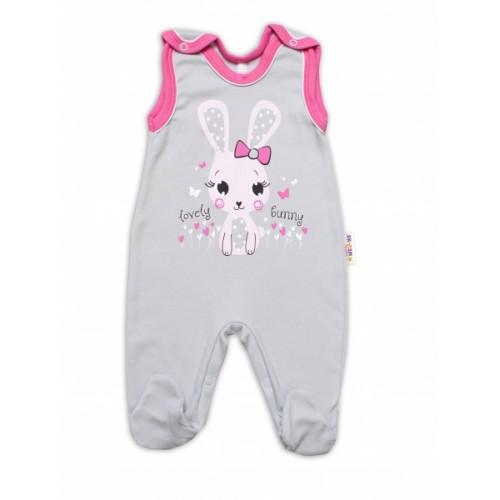 Baby Nellys bavlnené dupačky Lovely Bunny - sivé / ružové - 50 (0-1m)
