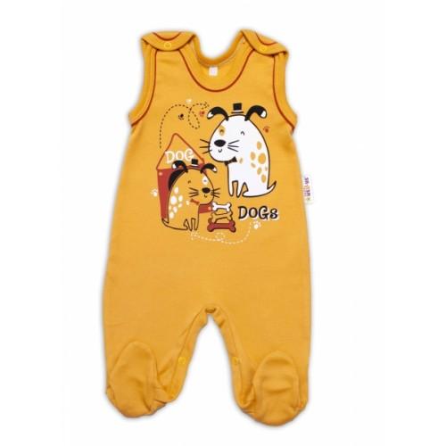 Baby Nellys bavlnené dupačky Dogs - horčicovej - 50 (0-1m)