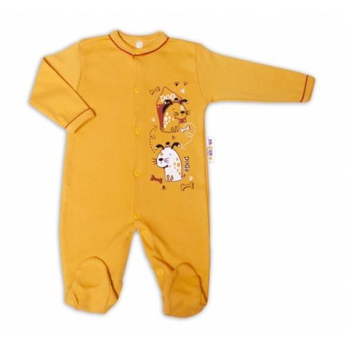 Baby Nellys Bavlnený dojčenský overal Dogs - horčicový, veľ. 50 - 50 (0-1m)