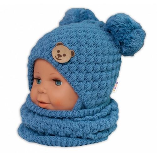 BABY NELLYS Pletený nákrčník / komínok - modrá - univerzální