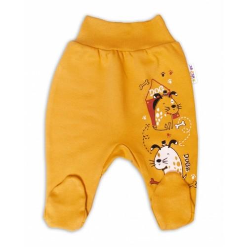 Baby Nellys Bavlnené dojčenské polodupačky, Dogs- horčicovej, veľ. 62 - 62 (2-3m)