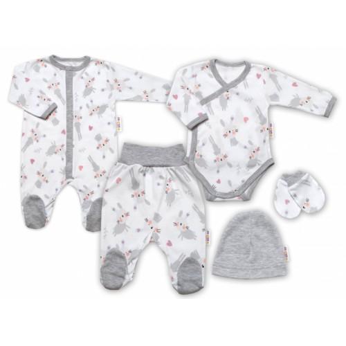 Baby Nellys 5-dielna sada do pôrodnice Cute Bunny, biela / sivá, veľ. 56 - 56-62 (0-3m)
