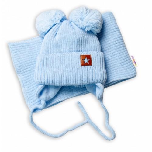 BABY NELLYS Zimná čiapka s šálom STAR - modrá s brmbolcami, veľ. 68/80 - 68-80 (6-12m)
