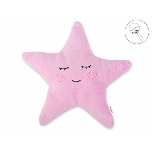 Baby Nellys Dekoračný vankúšik s hrkálkou Hviezdička, 40x40cm - ružová