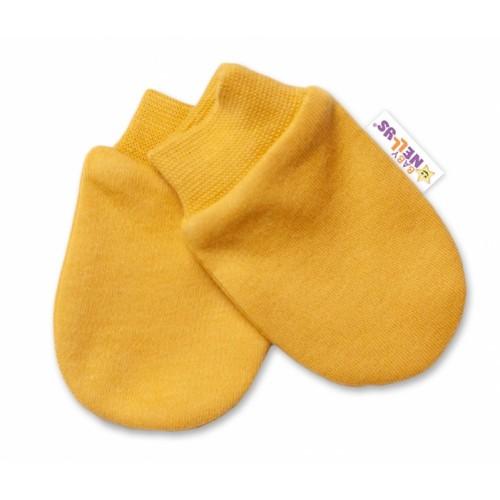 Baby Nellys Dojčenské rukavičky Dogs - horčicovej - 56 (1-2m)