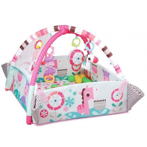 Icom detská hracia deka 5v1 s hrkálkami a balóniky, Safari, ružová