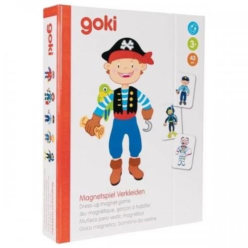 Goki Drevená magnetická skladačka v obliekaní - chlapec