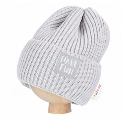 BABY NELLYS Zimná čiapka Have Fun - šedá  - 62-74 (3-9m)