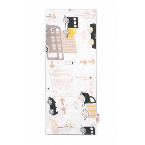 Baby Nellys Kvalitná bavlnená plienka - Tetra Premium, 70x80cm - Auta, biela