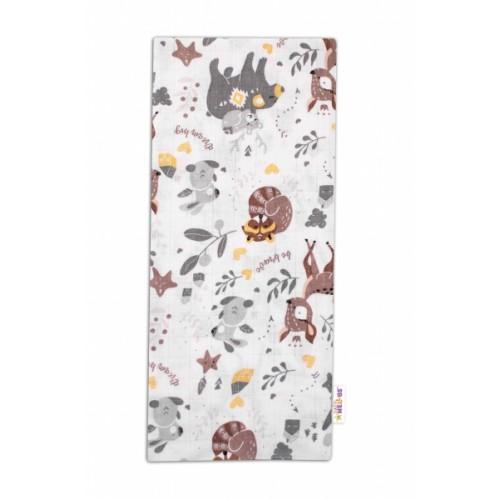 Baby Nellys Kvalitná bavlnená plienka - Tetra Premium, 70x80cm - Lesné zvieratká, biela