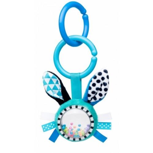 Canpol babies Závesná plyšová hračka s hrkálkou - Zajačik, modrá