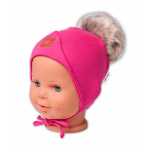 Baby Nellys Bavlnená dvojvrstvová čiapka s brmbolcom na zaväz. Star - ružová, vel. 68/80 - 68-80 (6-12m)