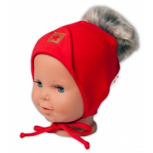 Baby Nellys Bavlnená dvojvrstvová čiapka s brmbolcom na zaväz. Star - červená, vel. 68/80 - 68-80 (6-12m)