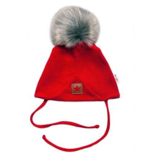 Baby Nellys Bavlnená dvojvrstvová čiapka s brmbolcom na zaväz. Star - červená, vel. 80/86 - 80-86 (12-18m)