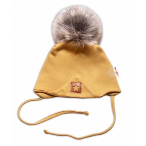 Baby Nellys Bavlnená dvojvrstvová čiapka s brmbolcom na zaväz. Star - horčicová, veľ.68/80 - 68-80 (6-12m)