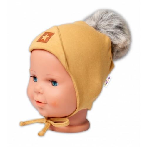 Baby Nellys Bavlnená dvojvrstvová čiapka s brmbolcom na zaväz. Star - horčicová, veľ.80/86 - 80-86 (12-18m)