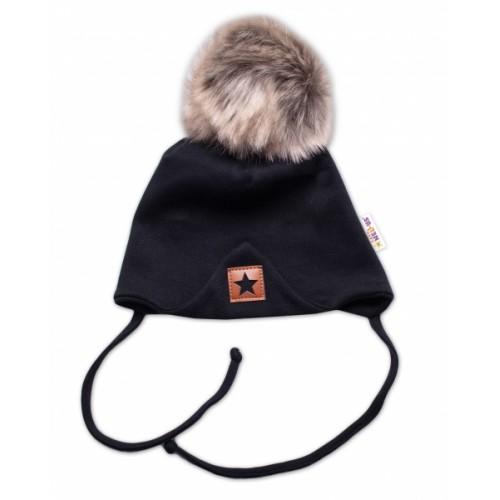 Baby Nellys Bavlnená dvojvrstvová čiapka s brmbolcom na zaväz. Star - čierna, veľ. 80/86 - 80-86 (12-18m)