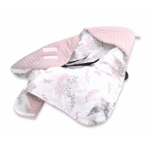 Baby Nellys Oteplena zavinovacia deka s kapuc. Velvet, 90 x 90cm, LULU natural, ružová