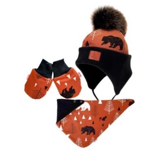 BEXA Zimná čiapka na zaväzovanie s rukavičky Balto + šatka - hnedá / čierna, veľ. 68/80 - 68-80 (6-12m)