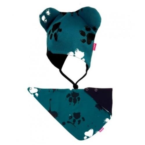 BEXA dvojvrstvová čiapka na zaväzovanie s uškami + šatka - Labky, petrolejová - 56-62 (0-3m)