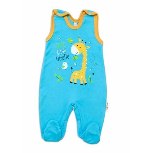 Baby Nellys bavlnené dupačky Giraffe, tyrkysové - 50 (0-1m)