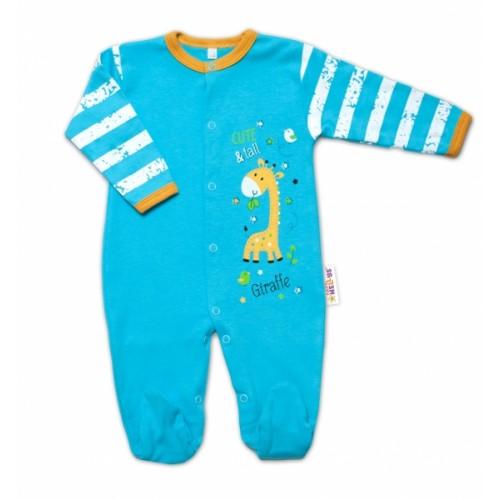 Baby Nellys Bavlnený dojčenský overal Giraffe, tyrkysový - 48 (0+)