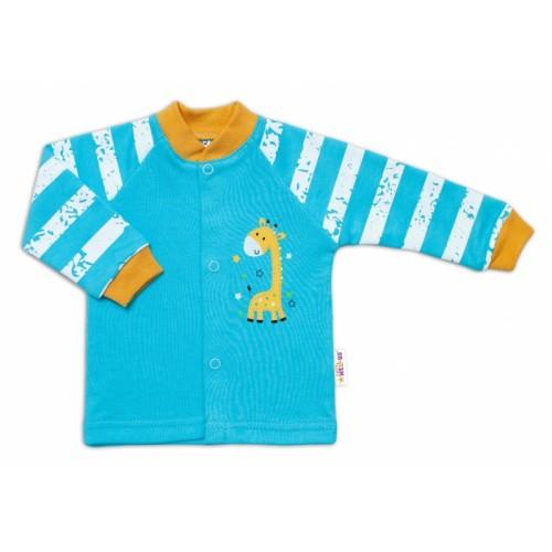 Baby Nellys Bavlnená košieľka Giraffe, tyrkysová - 50 (0-1m)