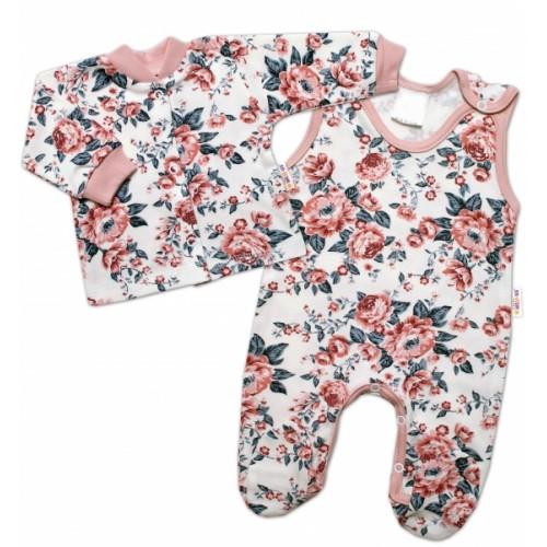 Baby Nellys 2 - dielna sada, bavlnené dupačky s košieľkou Anglická Ruže - 50 (0-1m)