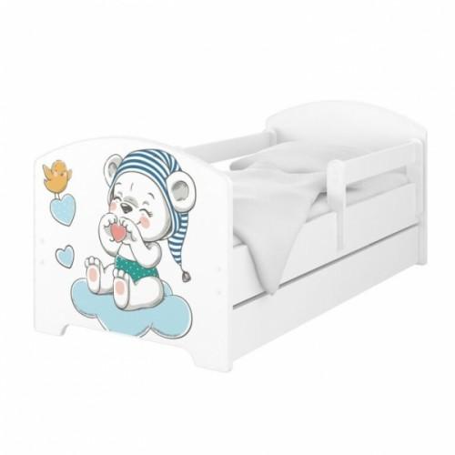 Babyboo Detská posteľ 140 x 70 cm - Macko s čiapkou + šuplík - 140x70