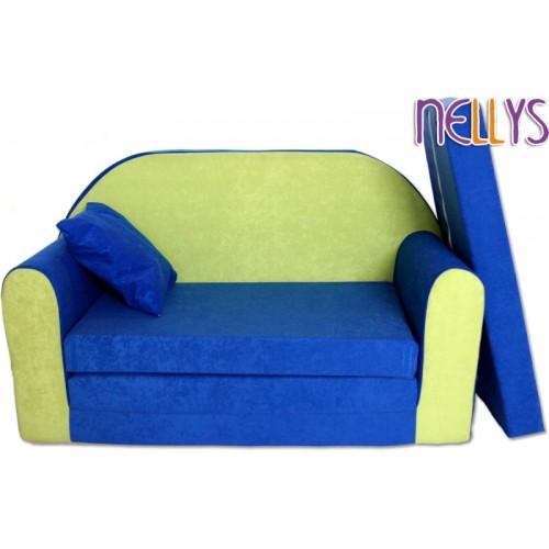 Baby Nellys Rozkladacia detská pohovka 01R - modrá/ zelená