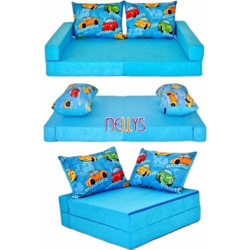 NELLYS Rozkladacia detská pohovka 3 v 1 - P01 - Auta v modrej