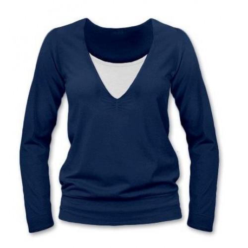 JOŽÁNEK Dojčiace, tehotenské tričko Julie  dl. rukáv - jeans - S/M
