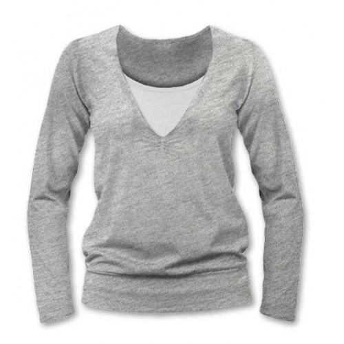 JOŽÁNEK Dojčiace, tehotenské tričko Julie dl. rukáv - sivý melír - S/M