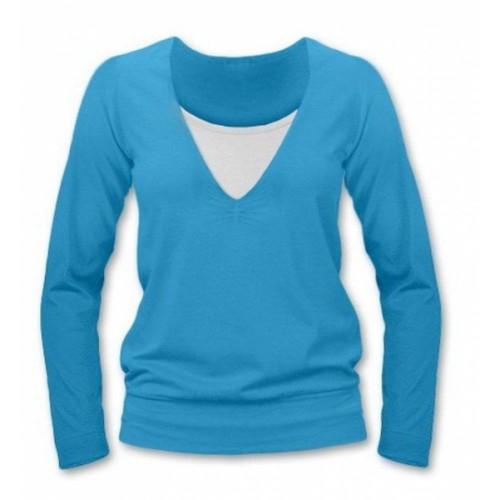 JOŽÁNEK Dojčiace, tehotenské tričko Julie dl. rukáv - tyrkys, L/XL - L/XL