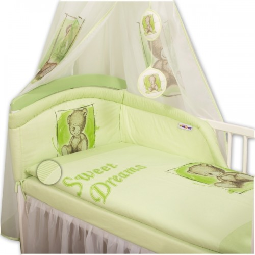 Baby Nellys Mantinel s obliečkami Sweet Dreams by Teddy - zelený - 120x90
