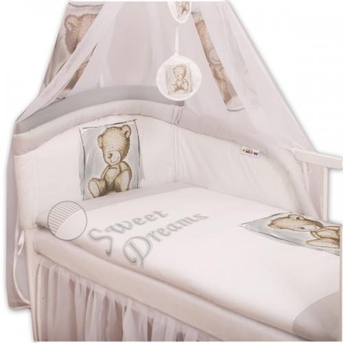 Baby Nellys Mantinel s obliečkami Sweet Dreams by Teddy - sivý - 135x100