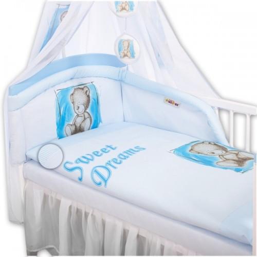 Baby Nellys Mantinel s obliečkami Sweet Dreams by Teddy - modrý - 120x90