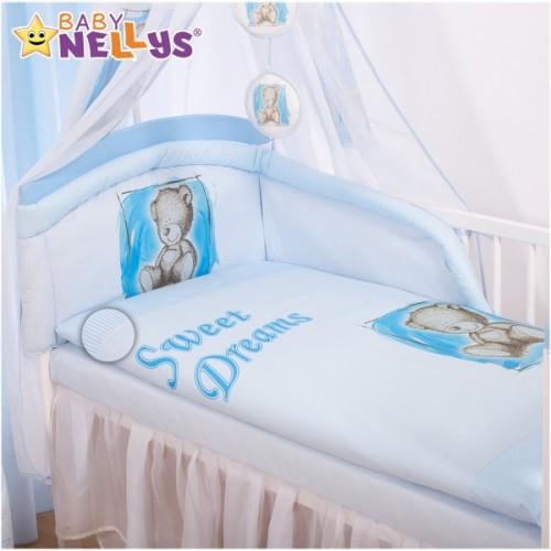 Baby Nellys Mantinel s obliečkami Sweet Dreams by Teddy - modrý - 140x70