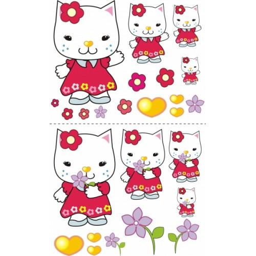 NELLYS Nálepky, dekorace na stěnu 70x100 cm - Mačička s kytičkou