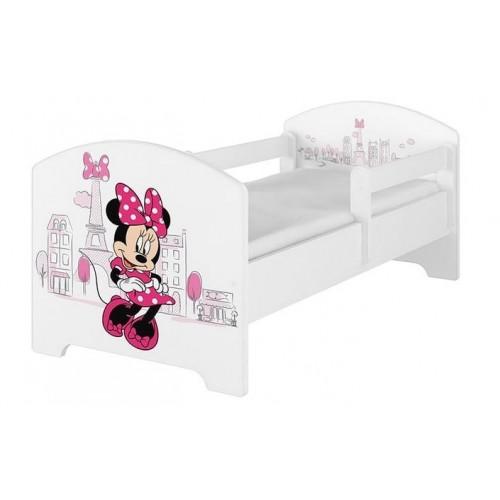Babyboo Detská posteľ 140 x 70 cm Disney -  Minnie Paris, biela - vrátane šuplíku - 140x70