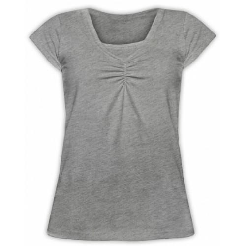 JOŽÁNEK Dojčiace, tehotenské tričko KARIN - sivý melír - L/XL