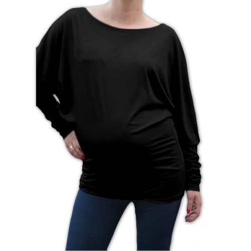Be MaaMaa Symetrická tehotenská tunika - čierna