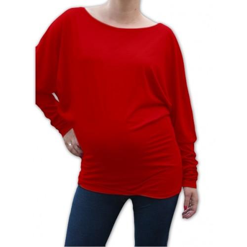 Be MaaMaa Symetrická tehotenská tunika - červená