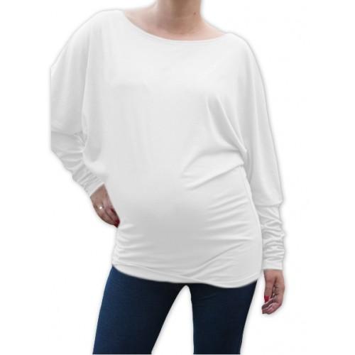 Be MaaMaa Symetrická tehotenská tunika - biela