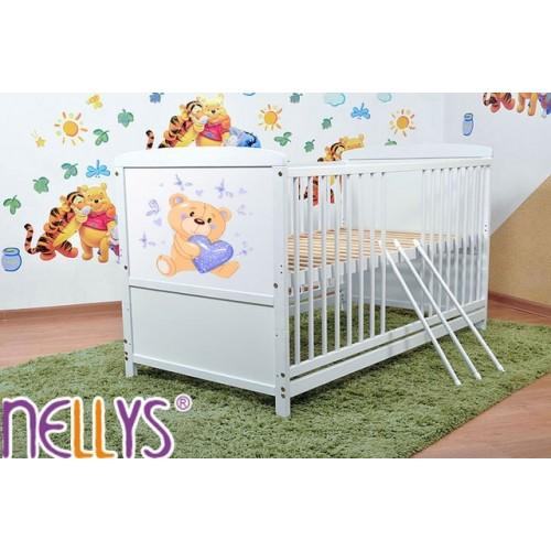 Drevená postieľka Nellys biela - Míša srdiečko modré - 120x60
