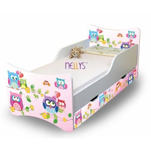NELLYS Detská posteľ so zábranou a šuplík/y sovička, 160x80 cm - 160x80