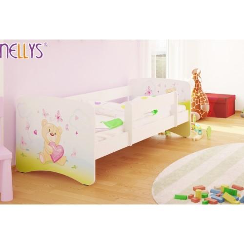 NELLYS Detská posteľ s bariérkou Nico - Míša srdiečko / biela - 160x80 cm - 160x80