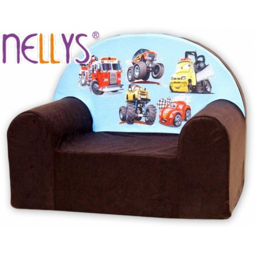 Detské kresielko / pohovečka Nellys ® - Autá v hnedej