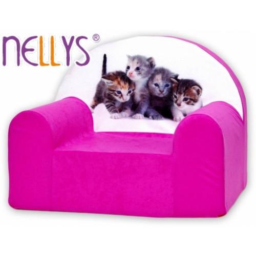 Detské kresielko / pohovečka Nellys ® - Mačičky v ružovej