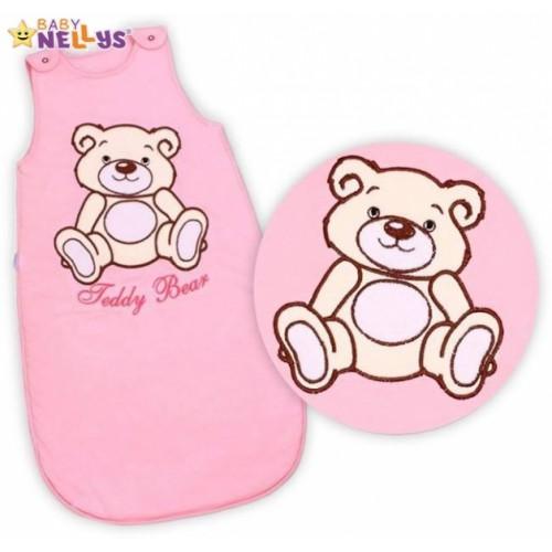 Spací vak Medvedík Teddy, Baby Nellys - sv. ružový veľ. 2